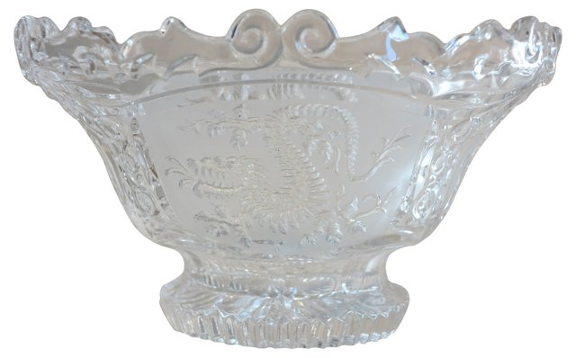 Chinese Art Deco Crystal Dragon Bowl