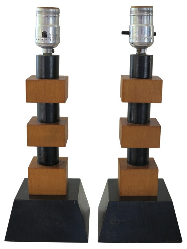 1940s Moderne Wood Block Lamps, Pair