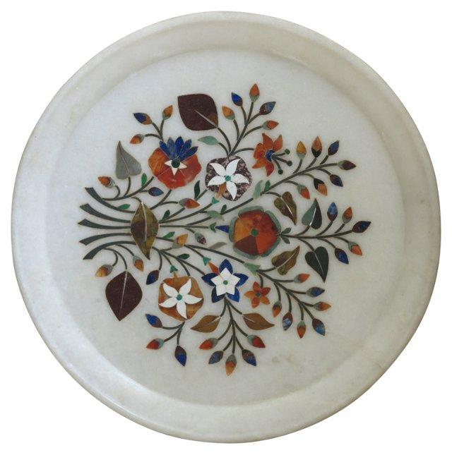 19th-C. Indian Pietra Dura Plate