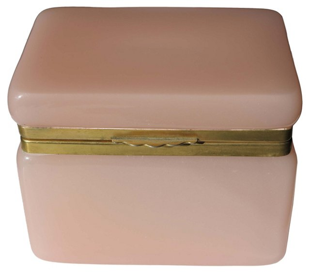1950s French Pink Opaline Glass Box