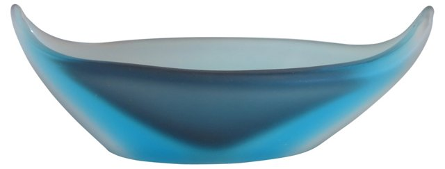 1950s Frosted Murano Sommerso Glass Bowl