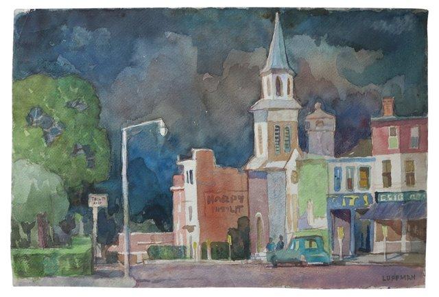 Downtown Gloucester Mass. Watercolor