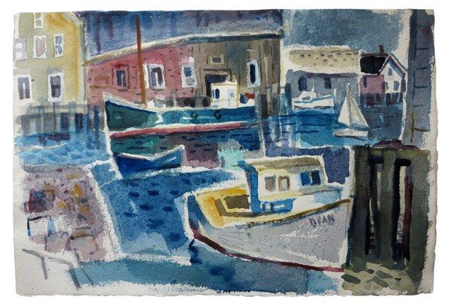1950s Gloucester Dock Watercolor