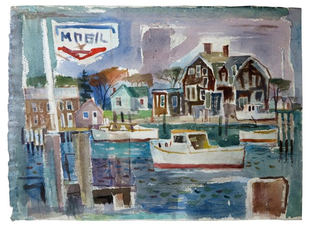 1950s Gloucester, MA Nautical Watercolor