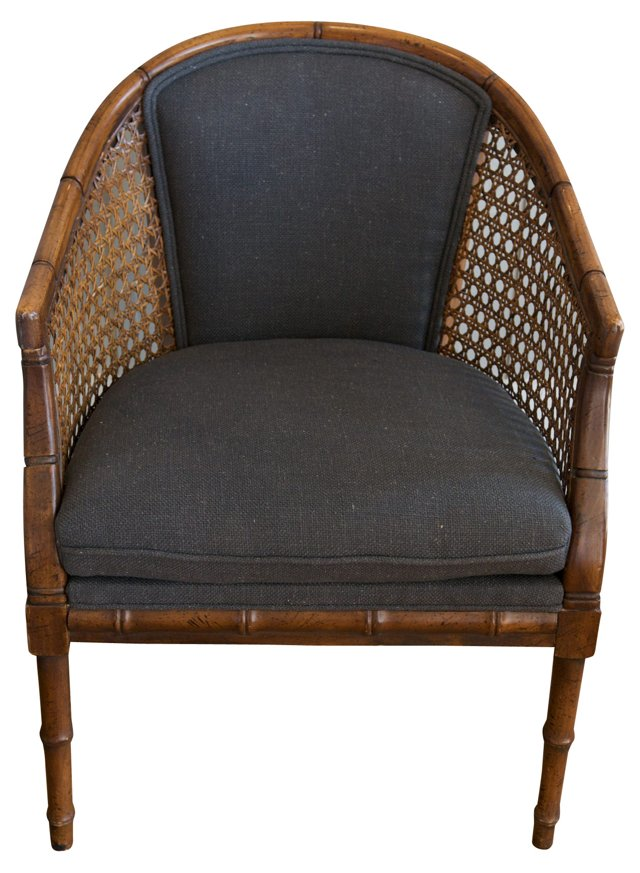 Faux-Bamboo  Caned Armchair