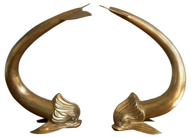 Solid Brass Dolphins, Pair