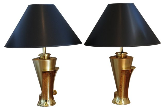 Polished & Matte Brass  Lamps, Pair