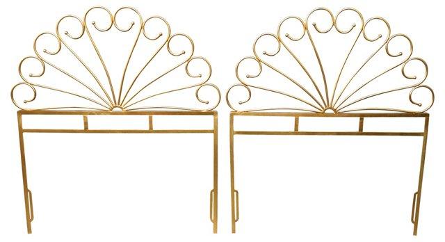 Gold-Tone Metal Headboards, Twin, Pair