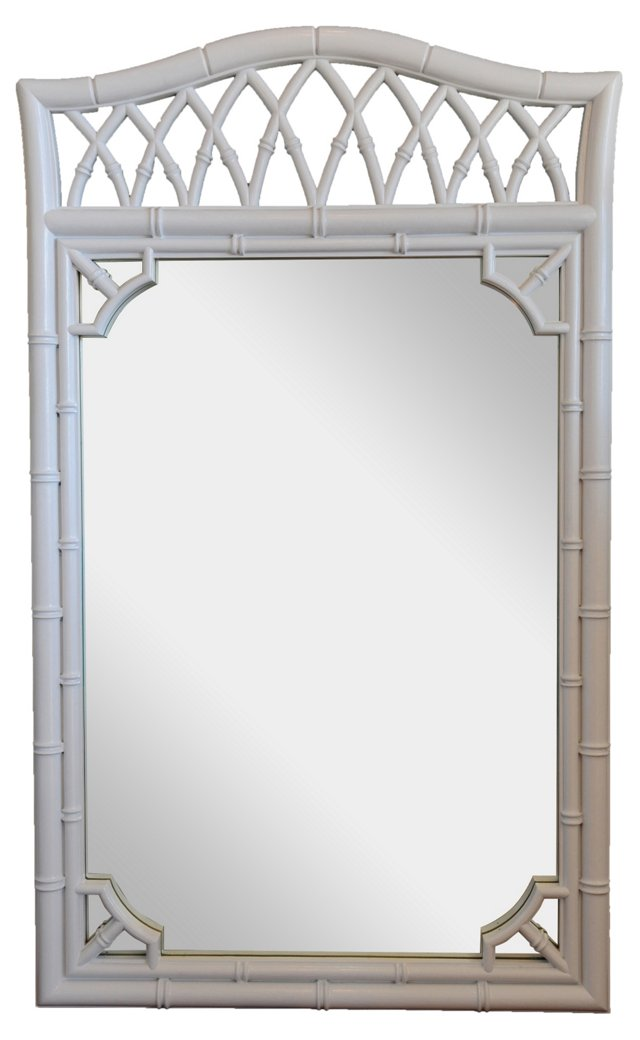 White Lacquer Faux-Bamboo Mirror