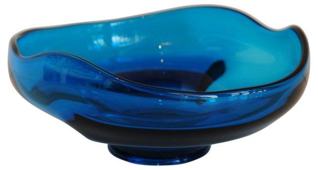 Blue Midcentury Glass Bowl