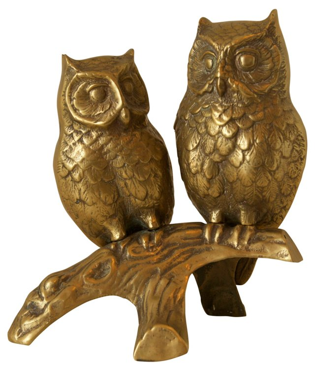 Perched Brass Owls