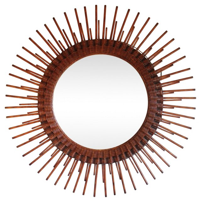 Wicker & Wood Sunburst Mirror