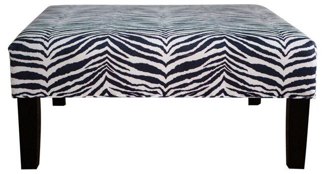 Navy & White Zebra-Print Ottoman