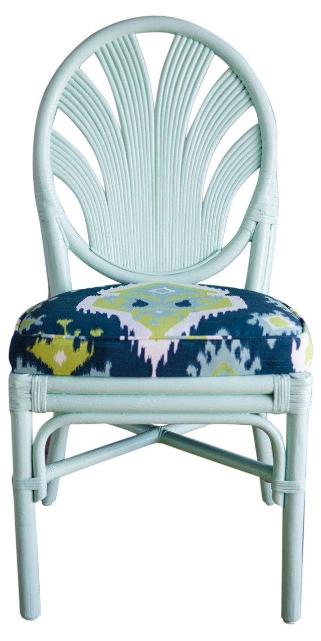 Mint Green & Ikat-Print Side Chair