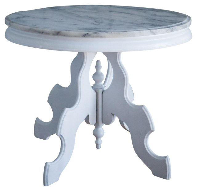 White Marble-Top Side Table