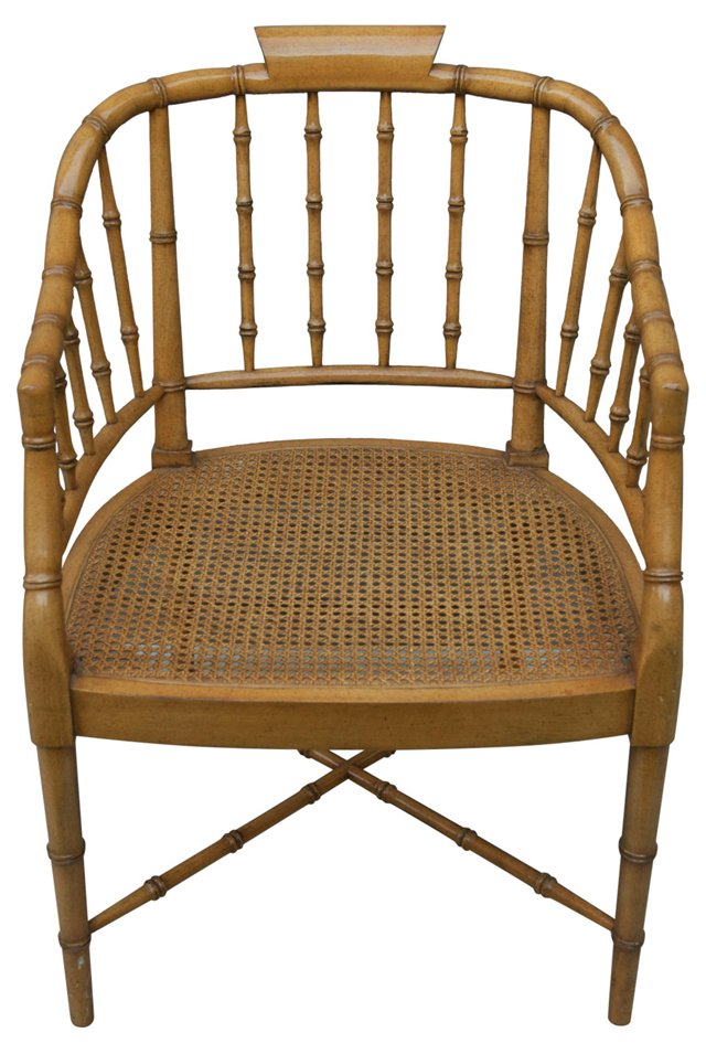 Faux-Bamboo & Cane Armchair