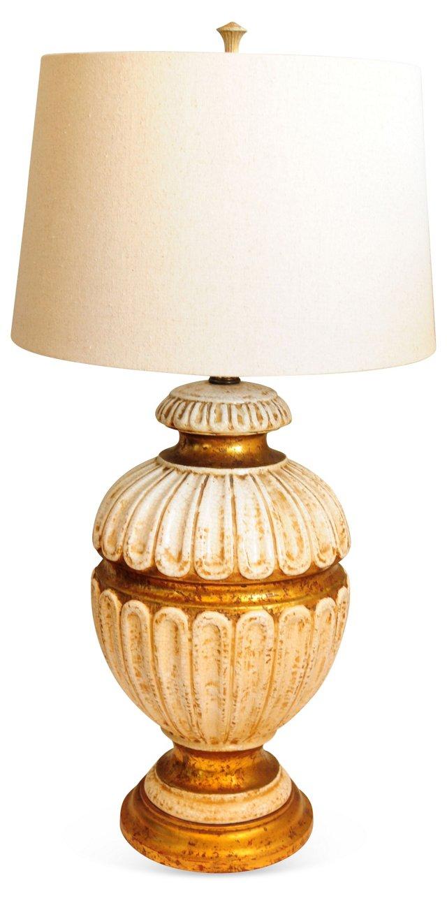 Ivory & Gold Leaf Ceramic Lamp
