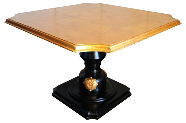 Gold Leaf & Black Side Table
