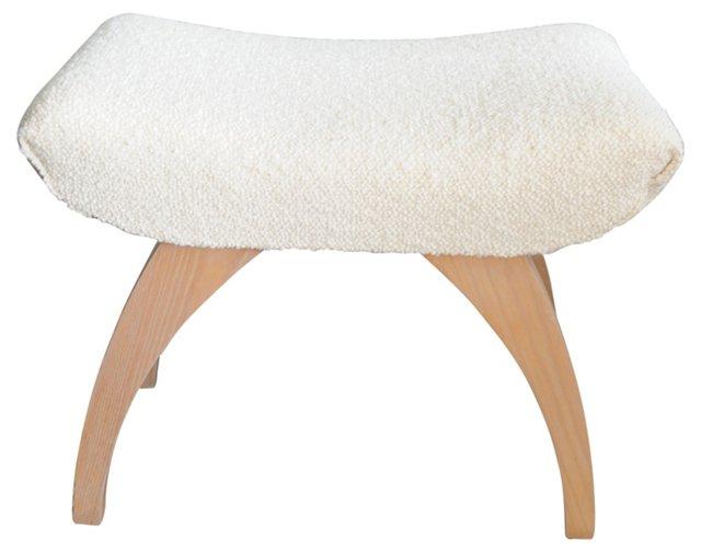 Midcentury Bench w/ Ivory Bouclé Fabric