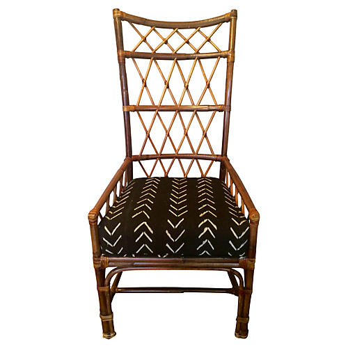 Palecek Rattan Chair w/ Mud-Cloth Seat