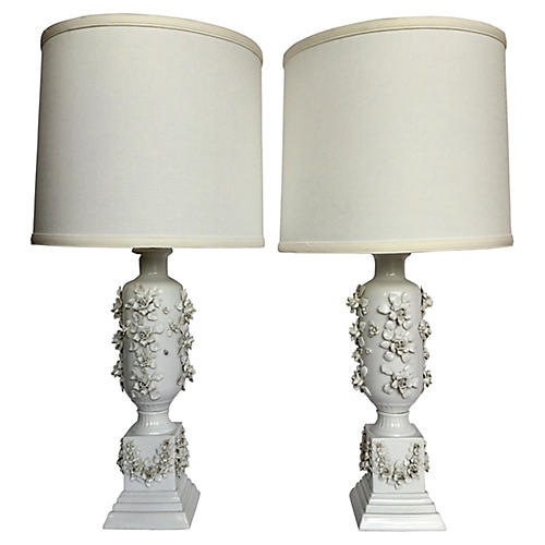 White Table Lamps, S/2