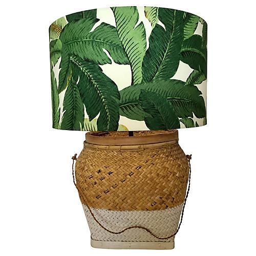 Basket Lamp w/ Palm Shade