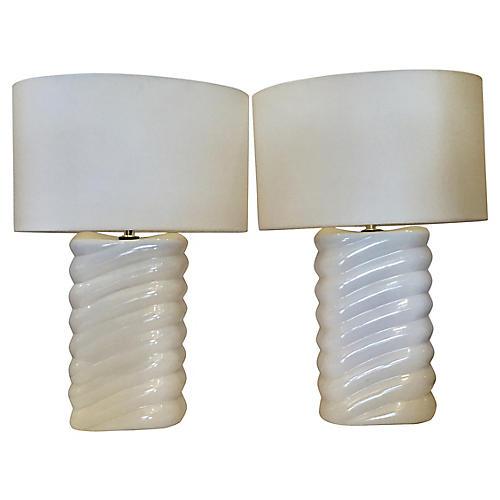 Ceramic Table Lamps, Pair
