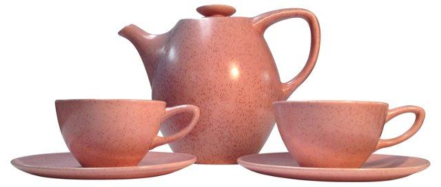 1950s Moderne Pink Tea Set s/3