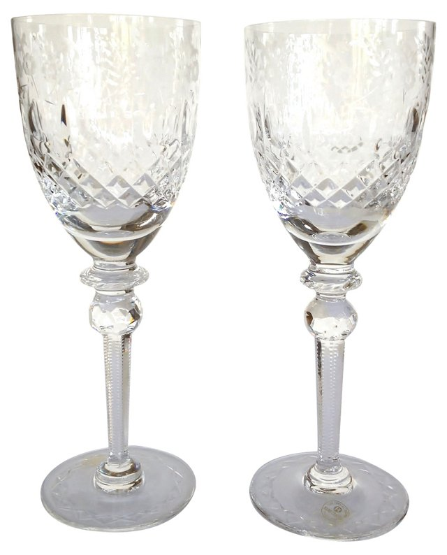 Wedding Toast Cut-Crystal Goblets, Pair