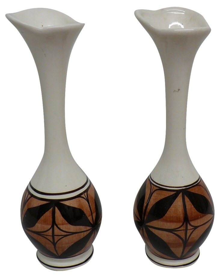 Hand-Decorated Hawaiian Vases, Pair