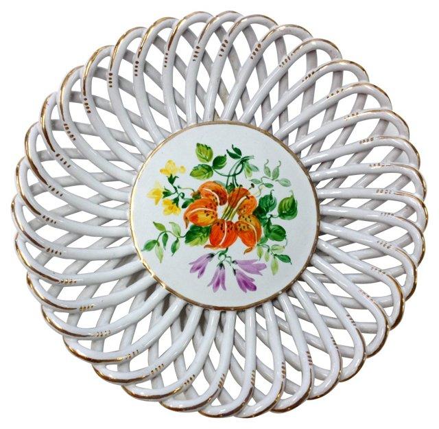Italian Latticework Hand-Painted Plate