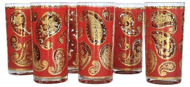 Culver  Paisley Tall Tumblers S/6
