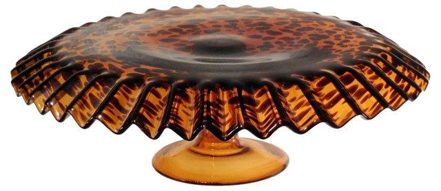 Artisan Tortoiseshell Glass Cake Stand