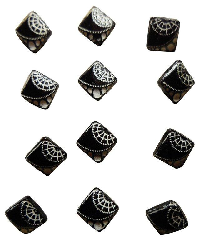 Antique Art Deco Glass Buttons, S/12
