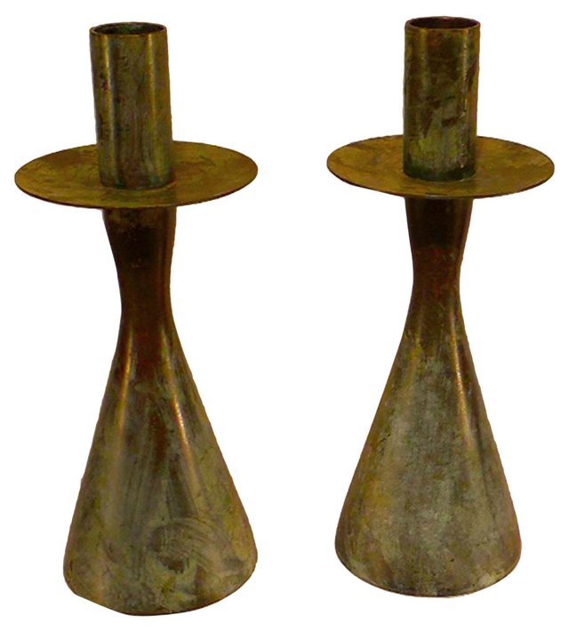 Bronze Cone-Based Candleholders, Pair