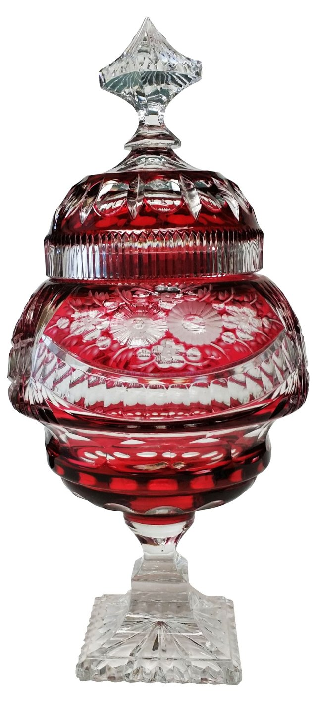 German Red Crystal Lidded Compote