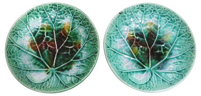 Antique Majolica Chargers, Pair