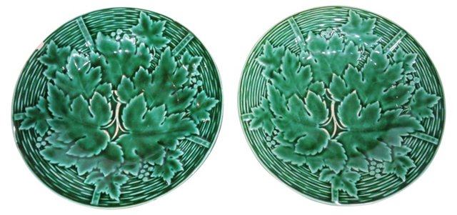 Antique French Majolica Plates, Pair