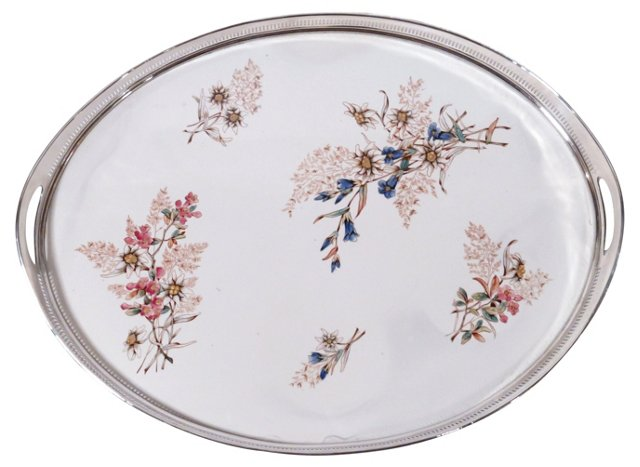 Antique Porcelain & Silverplate Tray