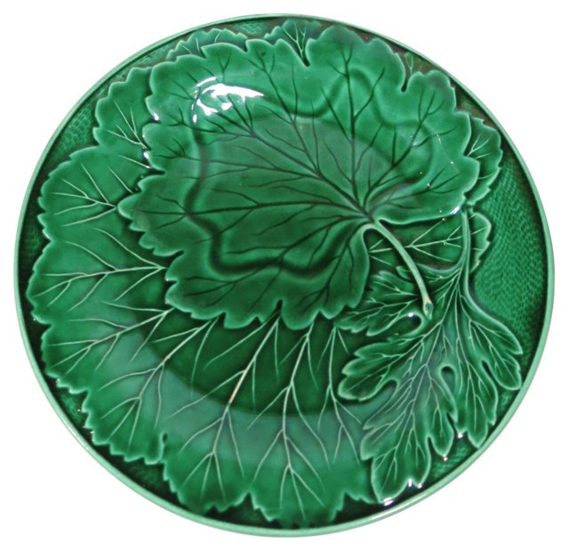 Antique Green Majolica Plate