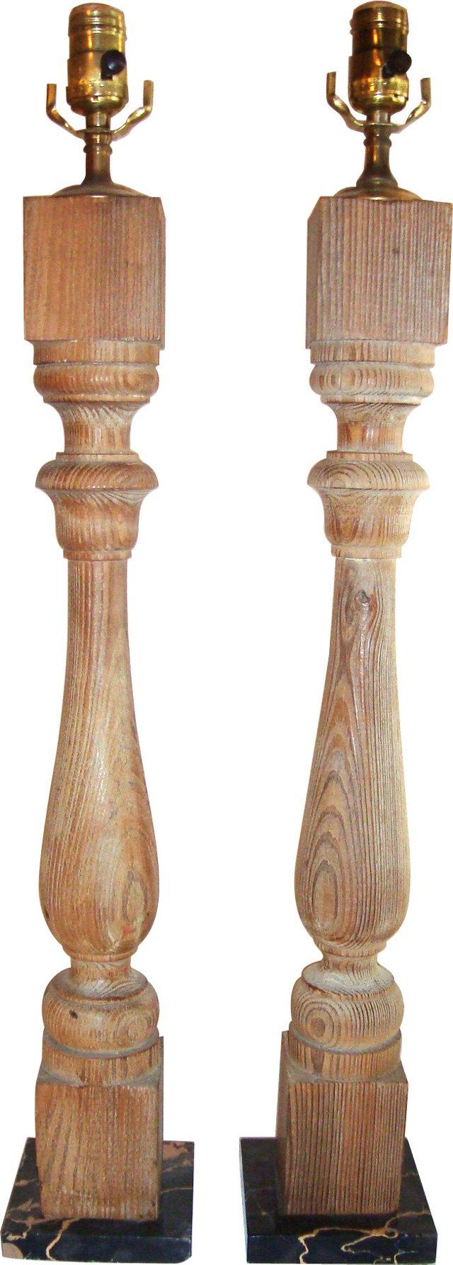 Wood Baluster Lamps, Pair