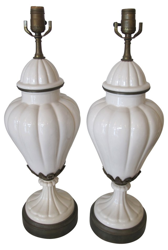Midcentury Porcelain & Brass Lamps, Pair