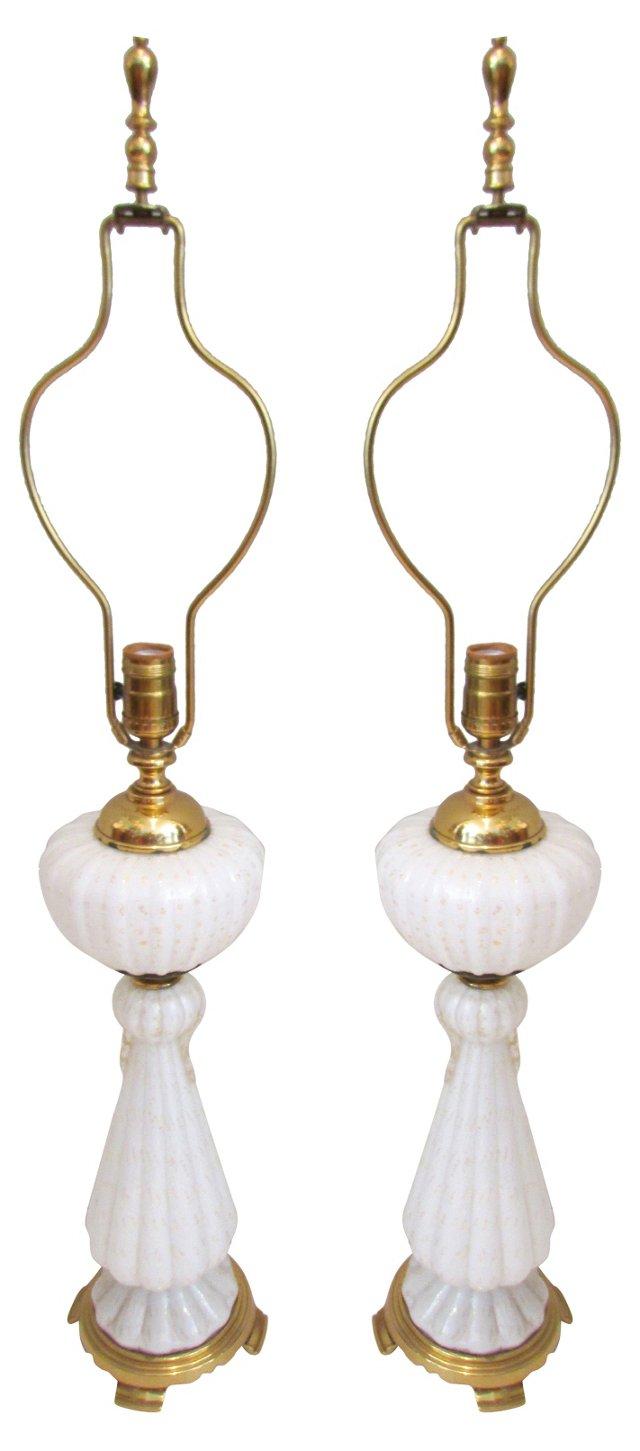 Cream Murano Glass Lamps, Pair