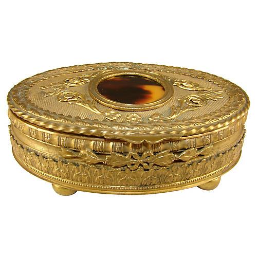 French Brass Jewelry Box
