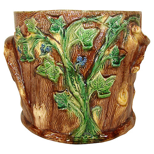 French Majolica Cachepot