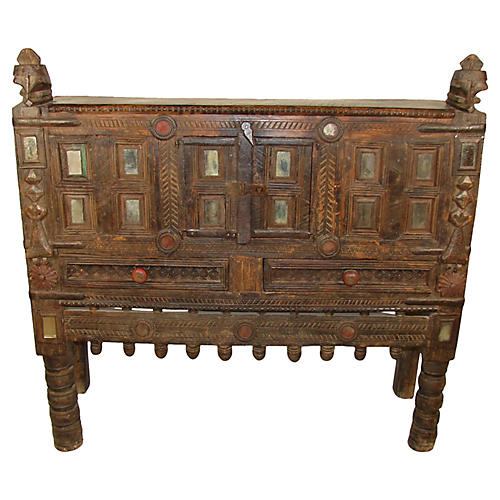 19th-C. Indian Dowery Chest