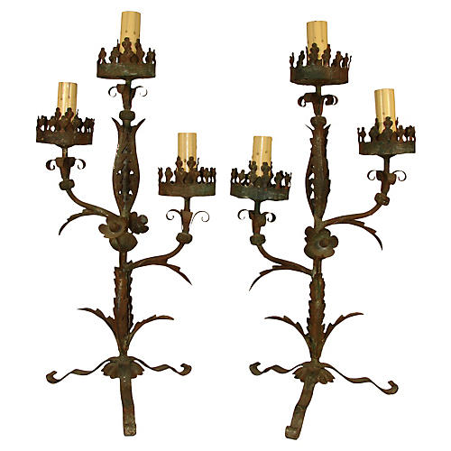 Antique Iron Candelabra, Pair