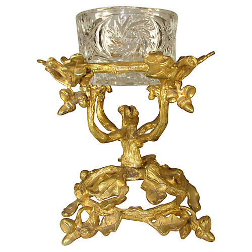 Gilt Bronze & Glass Nut Bowl