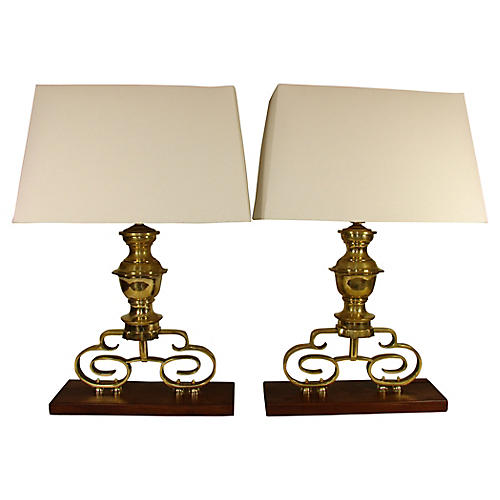 Andiron Lamps, Pair