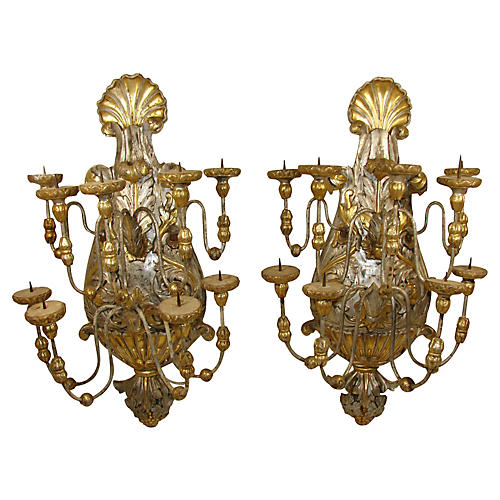 Italian Candle Sconces, Pair